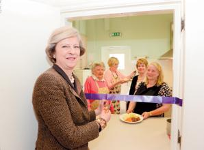 Theresa May opens £20,000 kitchen as Elizabeth House marks 35th anniversary