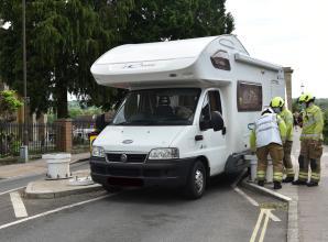 Fire crews called after campervan stuck near Marlow Bridge