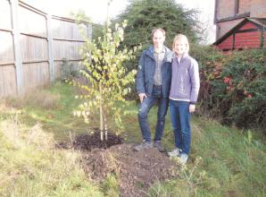 Couple donate young silver birch tree to Green Lane weir