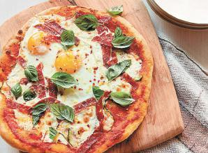 RECIPE: Antoni Porowski's breakfast for dinner pizza with eggs, courgette and spicy salami